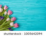 spring background a bouquet of... | Shutterstock . vector #1005642094