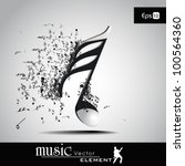 3d Musical Notes With Burst...