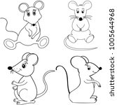 mouse outline vector set