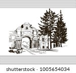 sketch with house with arch and ... | Shutterstock .eps vector #1005654034