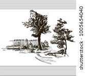 sketch with park trees in toile ... | Shutterstock .eps vector #1005654040