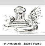 sketch with house and street... | Shutterstock .eps vector #1005654058