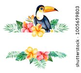 watercolor tropical frame... | Shutterstock . vector #1005659803