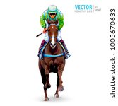 Stock vector jockey on horse champion horse racing hippodrome racetrack jump racetrack horse riding 1005670633