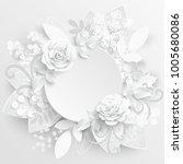 paper flower. white roses cut... | Shutterstock .eps vector #1005680086