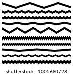 zig zag  wavy lines w  set of... | Shutterstock .eps vector #1005680728