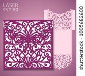 laser cut wedding invitation... | Shutterstock .eps vector #1005682600