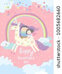 couple in love riding on unicorn | Shutterstock .eps vector #1005682660
