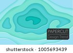 papercut layers on white paper. ... | Shutterstock .eps vector #1005693439