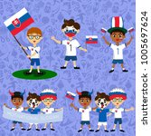 set of boys with national flags ...   Shutterstock .eps vector #1005697624