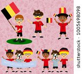 set of boys with national flags ... | Shutterstock .eps vector #1005698098