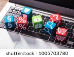 elevated view of social symbols ... | Shutterstock . vector #1005703780