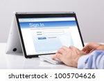 close up of businessman using... | Shutterstock . vector #1005704626