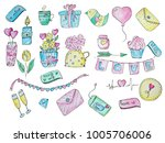 hand drawn watercolor set of... | Shutterstock . vector #1005706006