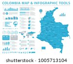 colombia map   detailed info... | Shutterstock .eps vector #1005713104