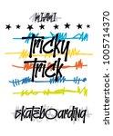 miami skateboarding t shirt... | Shutterstock .eps vector #1005714370