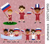 set of boys with national flags ... | Shutterstock .eps vector #1005716950