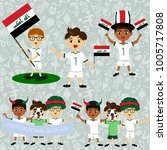 set of boys with national flags ... | Shutterstock .eps vector #1005717808