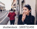 european tourist woman trying... | Shutterstock . vector #1005721450