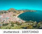 copacabana view  titicaca lake  ... | Shutterstock . vector #1005724063