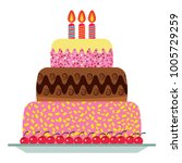 sweet birthday cake with three... | Shutterstock . vector #1005729259