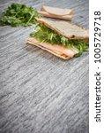 a fresh deli sandwich with... | Shutterstock . vector #1005729718