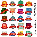 set of twenty discount stickers.... | Shutterstock . vector #1005730084