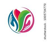 yoga logo lotus logo logo... | Shutterstock . vector #1005734770