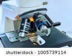 microscope and specimen glass...   Shutterstock . vector #1005739114