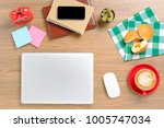 view from above.office desk...   Shutterstock . vector #1005747034