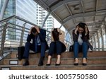 colleagues are tired from... | Shutterstock . vector #1005750580