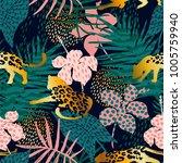 trendy seamless exotic pattern... | Shutterstock .eps vector #1005759940