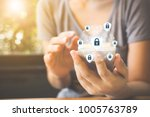 data protection and security... | Shutterstock . vector #1005763789