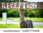 reception sign on wood at a...   Shutterstock . vector #1005775444