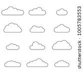 cloud outline set. cloud line... | Shutterstock .eps vector #1005783553