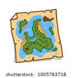 treasure map  a hand drawn... | Shutterstock .eps vector #1005783718
