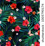 seamless hand drawn exotic... | Shutterstock .eps vector #1005790174