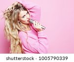 happy singing girl. beauty... | Shutterstock . vector #1005790339