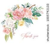 watercolor floral illustration  ... | Shutterstock . vector #1005792133