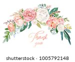 watercolor floral illustration  ... | Shutterstock . vector #1005792148