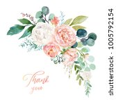 Stock photo watercolor floral illustration bouquet with bright pink vivid flowers green leaves for wedding 1005792154