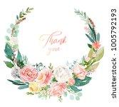 watercolor floral illustration  ... | Shutterstock . vector #1005792193