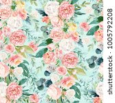 seamless watercolor floral...   Shutterstock . vector #1005792208