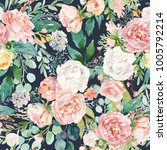 seamless watercolor floral... | Shutterstock . vector #1005792214