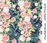 seamless watercolor floral... | Shutterstock . vector #1005792220
