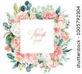 Stock photo watercolor floral illustration wreath frame with bright peach color white pink vivid flowers 1005792304