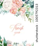 watercolor floral illustration  ... | Shutterstock . vector #1005792313