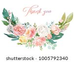 watercolor floral illustration  ... | Shutterstock . vector #1005792340