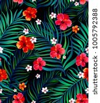 vector tropical seamless... | Shutterstock .eps vector #1005792388