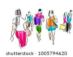 people walking color sketch | Shutterstock . vector #1005794620
